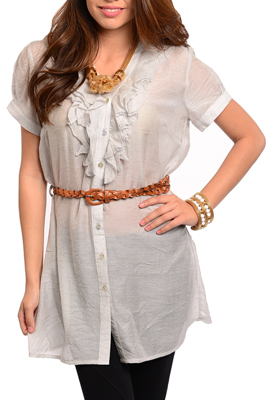 Trendy Sheer Chiffon Short Sleeve Tunic Top with Belt