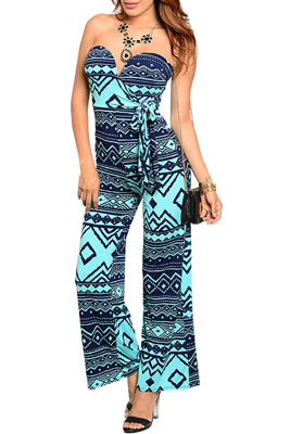 Trendy Strapless Tribal Print Maxi Romper with Sash