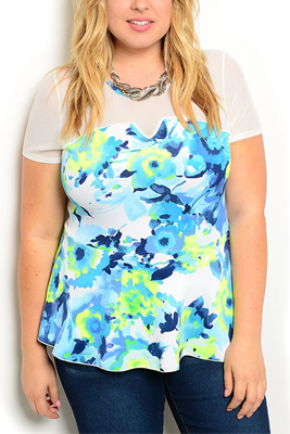 Plus Size Sheer Mesh Abstract Peplum Top