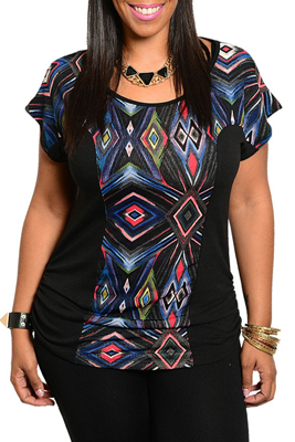Plus Size Trendy Unique Tribal Print Fitted Top