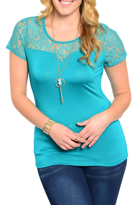 Plus Size Romantic Sheer Lace Short Sleeve Dressy Top with Necklace