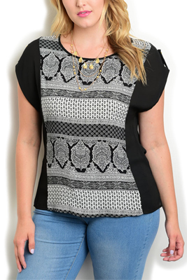 Plus Size Sheer Tribal Short Sleeve Top