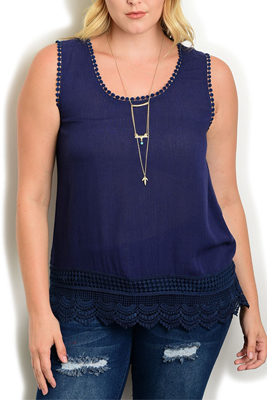 Plus Size Trendy Sheer Crocheted Tank Top