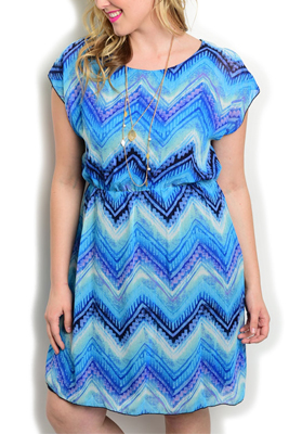 Plus Size Chevron Cinched Party Dress