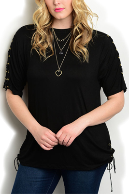 Plus Size Boat Neck Lace-Up Sides Top