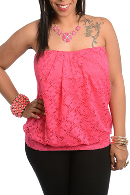 Plus Size Crocheted Lace Tube Top