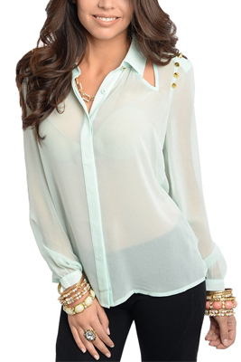 Sexy Sheer Button Long Sleeve Chiffon Studded Top