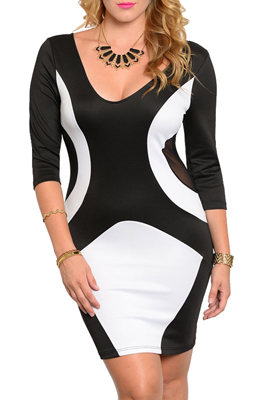 Plus Size Sexy Fitted Color Block Party Dress