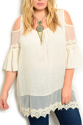 Plus Size Boho Chic Cold Shoulder Top