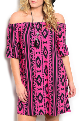 Plus Size Off Shoulder Tribal Peasant Dress