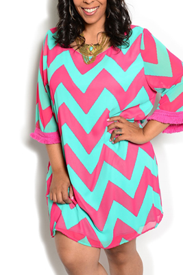 Plus Size Chevron Print Overlay Party Dress