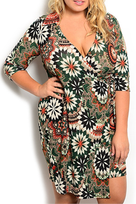 Plus Size Wrap Abstract Print Date Dress