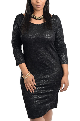 Plus Size Trendy Textured Animal Print Party Dress