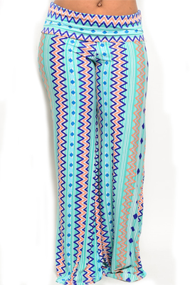 Plus Size Trendy Zig Zag Print Wide Leg Palazzo Pants