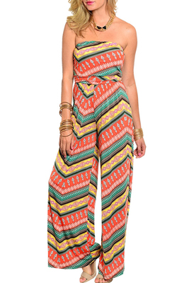 Trendy Abstract Pattern Long Sleeveless Romper