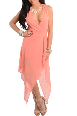Sexy Sleeveless Chiffon Kerchief Wrap Dress