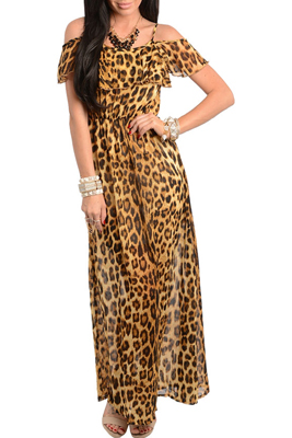 Sweet Animal Print Chiffon Off Shoulder Maxi Dress