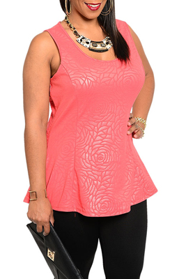 Plus Size Romantic Rose Petal Pattern Peplum Tank Top
