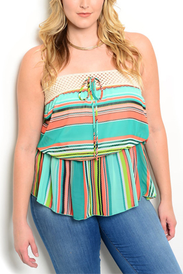 Plus Size Sheer Striped Crocheted Top