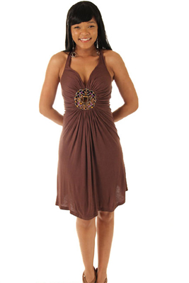 Glam Jeweled Jersey Cross-Back Party Dress