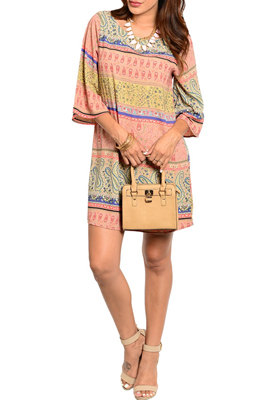 Boho Chiffon Loose Fitting Pattern Print Dress