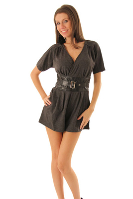 Stylish Heavy Knit Heathered Shorts Romper with Belt
