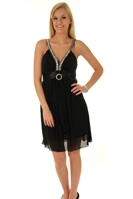 Trendy Glam Sequined Crepe Party Dress