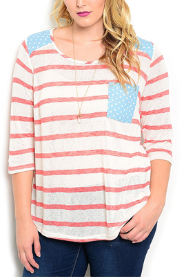 Plus Size Striped Polka Dot Casual Top