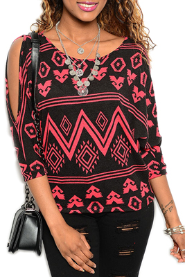 Trendy Tribal Print Sheer Knit Cold Shoulder Top