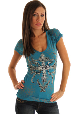 Rocker Edge Jeweled Cross Tattoo Print Top