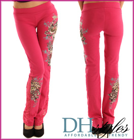 Truth Rhinestone Fleur Tattoo Print Lounge Pants