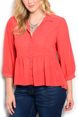Plus Size Sheer 3/4 Sleeve Dressy Top