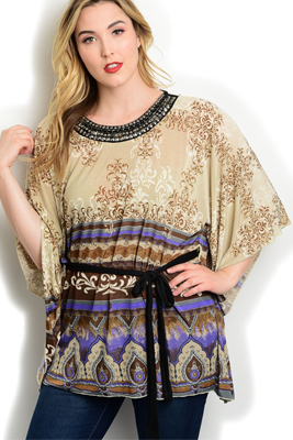 Plus Size Boho Mixed Print Studded Top Belt