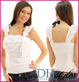 Satin Ruched Rhinestone Studded Top