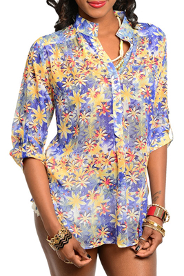 Trendy Sheer Button Down Floral Print Top