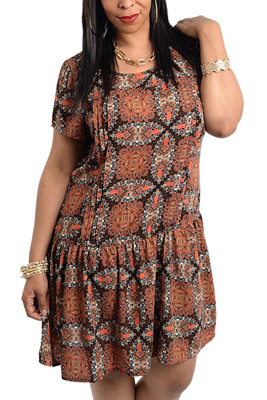 Plus Size Unique Abstract Floral Print Short Sleeve Dress