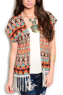 Tribal Crocheted Fringe Cap Sleeve Cardigan