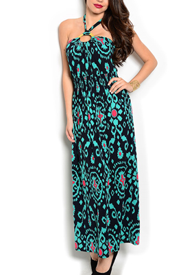 Sheer Tribal Embellished Halter Maxi Dress