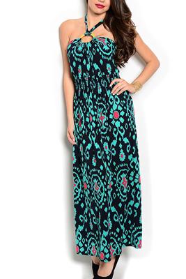 Sheer Tribal Embellished Halter Maxi Dress
