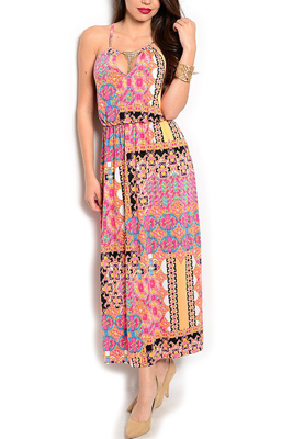 Sexy Mixed Print Jeweled Halter Maxi Dress