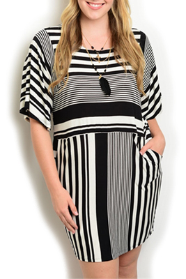 Plus Size Slinky Striped Pocket Date Dress