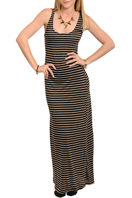 Trendy Sexy Striped Open Back Knit Maxi Dress