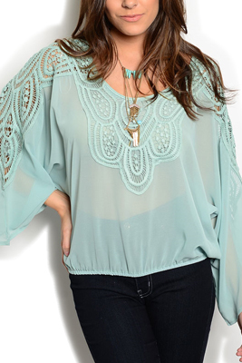 Sheer Embroidered Yoke And Sleeves Top