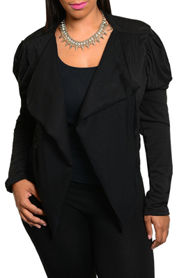 Plus Size Trendy Long Sleeve Open Cardigan Top with Sequins