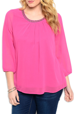 Plus Size Trendy Beaded Neckline Quarter Sleeve Top