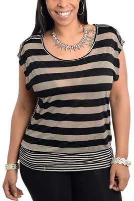 Plus Size Trendy Sheer Stripe Knit Top