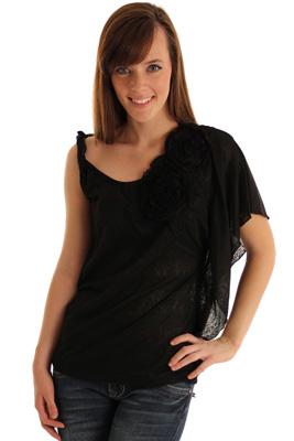 Sheer Knit Floral Applique Flutter Sleeve Top