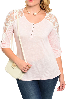 Plus Size Trendy Sheer Lace Sleeve Button Down Dressy Top