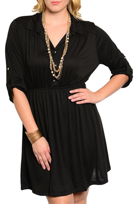 Plus Size Classy Three Button Cinched Cuffed Sleeves Dress