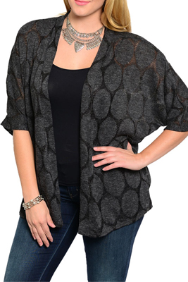 Plus Size Classy Open Front Oval Woven Pattern Cardigan